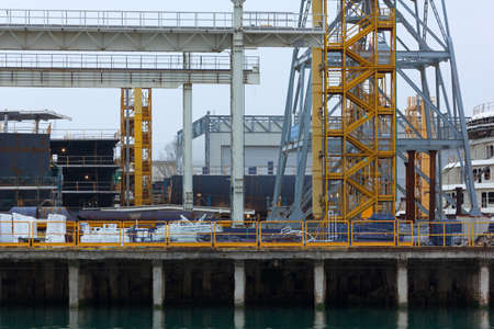 Detail of the structures and buildings of a shipyard Stock Photo