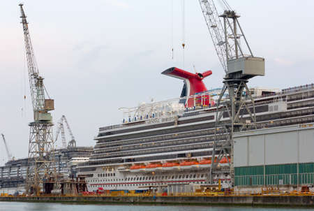 MONFALCONE, Italy - March 27, 2018: Carnival Horizon giant cruise ship in the Monfalcone shipyards the day before its delivery Redactioneel