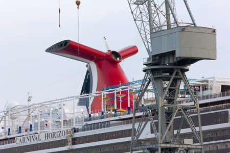 MONFALCONE, Italy - March 27, 2018: Close-up of Carnival Horizon giant cruise ship in the Monfalcone shipyards the day before its delivery