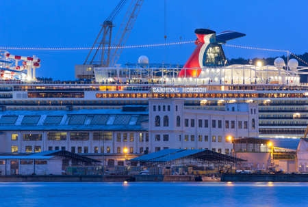 MONFALCONE, Italy - March 27, 2018: Carnival Horizon giant cruise ship in the Monfalcone shipyards the evening before its delivery