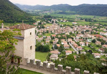 Village of Cison di Valmarino seen from Castelbrando, in the Prosecco wine region, Italy