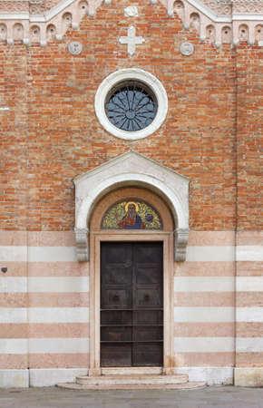 VENICE, Italy - January 12, 2019: Facade of the former chapel of San Vio, in campo San Vio