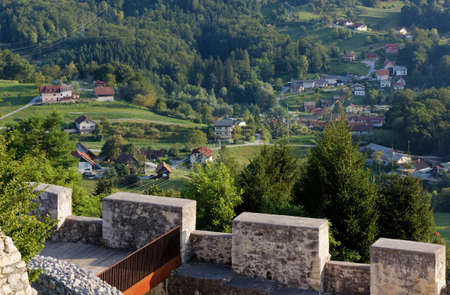 View of the countryside landscape from the battlement of the old castle of Celje, Slovenia