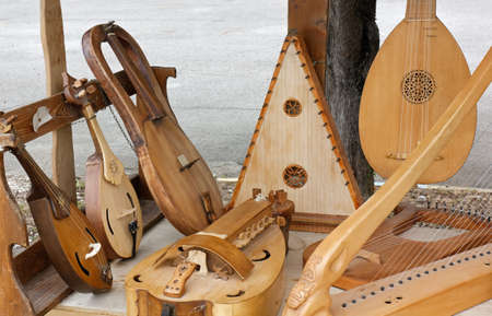 Display of ancient string musical instruments