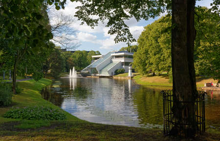 Kronvalda park in Riga, Latvia, with the Port Authority building in the background