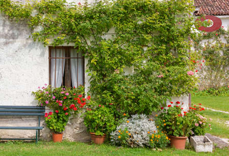 Facade of an old traditional rural building decorated with plants and flowers Banque d'images