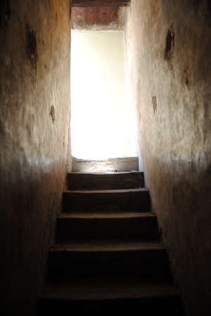 mistery: Staircase with light in the end the Stock Photo