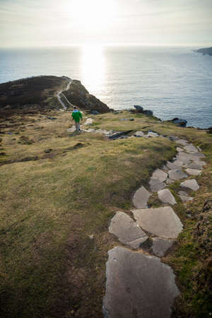 Stone path at Slieve League Sea cliffs in Donegal in the North west of Ireland.