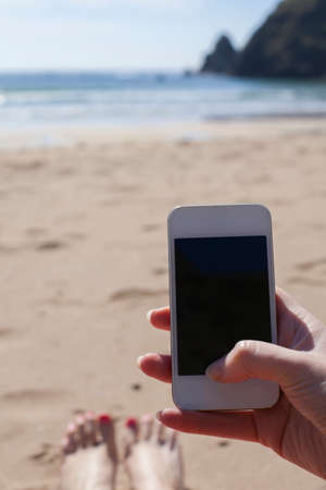 blank screen: Hand holding a smart phone with blank screen
