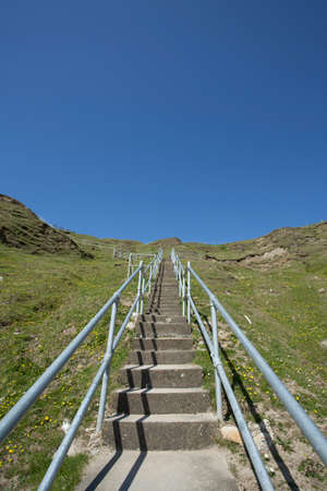 The steps to the Silver Strand beach in Glencolmcille, Co. Donegal, Ireland photo