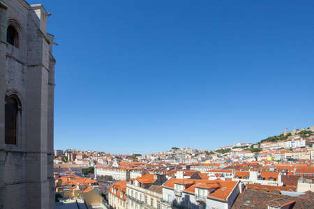 convento: A view over the red rooftops of Lisbon city from beside the Convento do Carmo Cathedral.