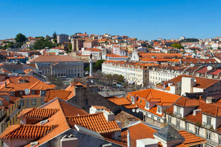 elevador: A view over the red rooftops of Lisbon city the capital city of Portugal from the heights of the Funicular Elevador de Santa Justa. Stock Photo