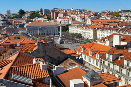 elevador: A view over the red rooftops of Lisbon city, the capital city of Portugal from the heights of the Funicular Elevador de Santa Justa. Stock Photo