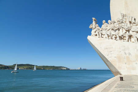 discoverer: Discovery monument in Belem Lisbon. The momument shows Henry the navigator at the forefront and celebrates the Portuguese age of discovery.