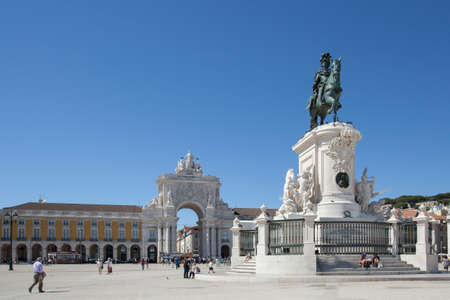 jose: The Arch of Triumph and the monument of King Jose I in Commerce square Lisbon