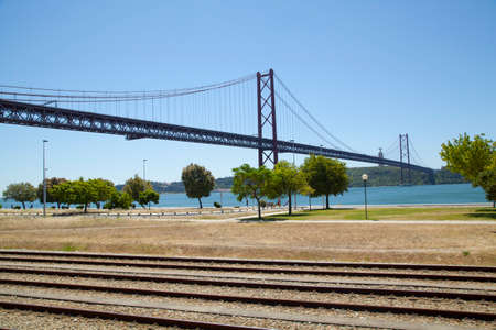 25th: The 25th April bridge in Lisbon. The bridge is a cable-stayed bridge at 2.27km and is very similar to the Golden Gate bridge in San Francisco Stock Photo