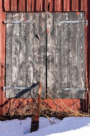 barns winter: Barn Door in Winter