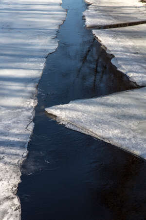 thawing: Ice Sheets in Thawing River in Sweden