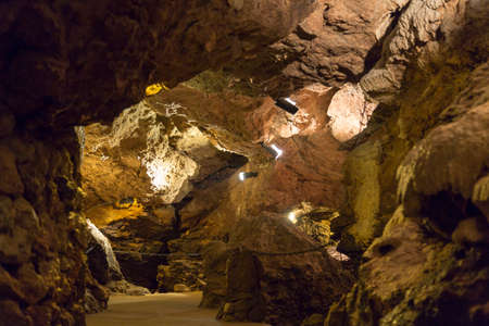 crevice: The Lummelunda Cave System Lit with Lights. In Gotland, Sweden