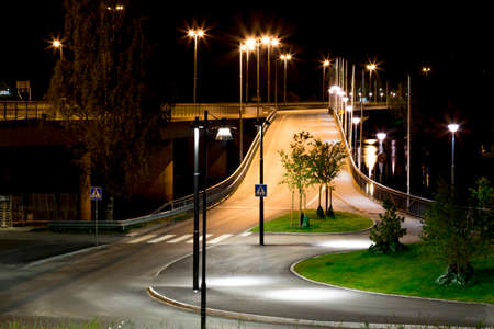pedestrian bridges: On-Ramp to the Curch Bridge in Umea, Sweden at night
