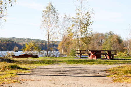 sweden resting: Resting Place by Swedish River in Umea Stock Photo
