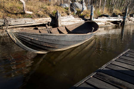 whiff: Wooden Rowing Boat Tied Up