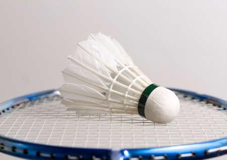 aerodynamic: Shuttlecock on Badminton Racket Stock Photo