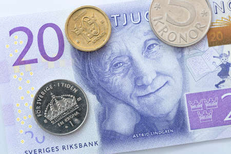 introduced: Swedish Currency Close Up Stock Photo