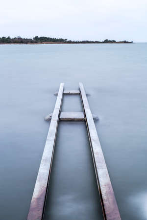 structure: Steel Structure in Water Stock Photo