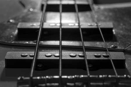 Bass Guitar Pickups Close Stockfoto