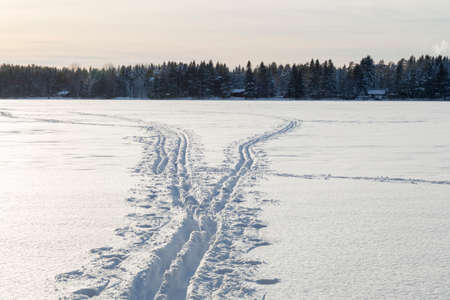cross country: Cross Country Ski Tracks on Lake in Umea, Sweden