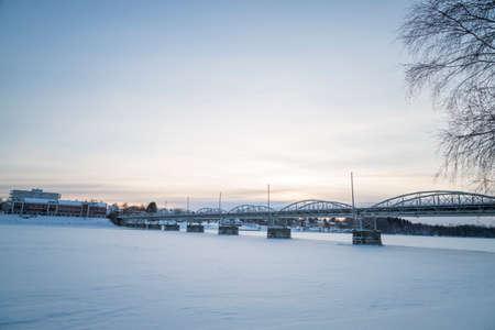 sweden in winter: Bridge in Umea, Sweden in Winter