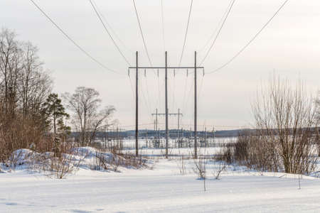 powerplant: Powerlines with Powerplant Stock Photo