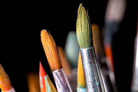 close up: Paintbrushes Close Up Stock Photo
