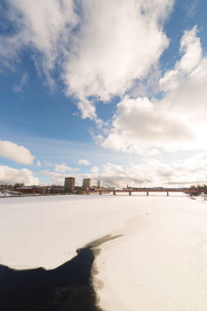 sweden in winter: Downtown Umea, Sweden and its river in winter