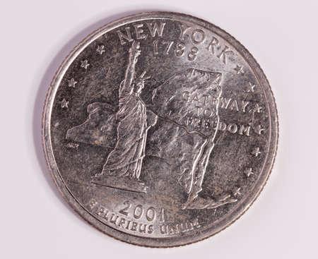 at close quarters: New York Quarter Dollar Close up on white background Stock Photo
