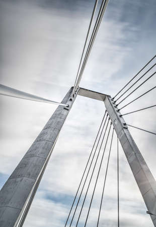 cable bridge: Cable Bridge in Umea, Sweden with a cloudy sky Stock Photo