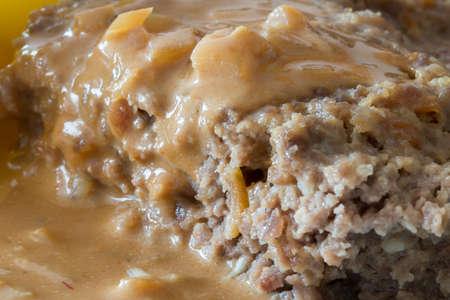 pastel de carne: Pastel de carne con salsa de cebolla de cerca. Foto de archivo