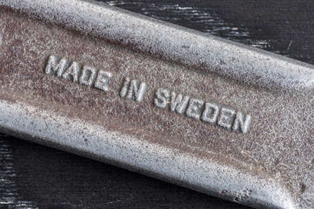 close up  wrench: Made in Sweden Text on Wrench Handle close up Stock Photo