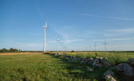 kinetic energy: Wind Powerplant Farm in Field in Gotland, Sweden.