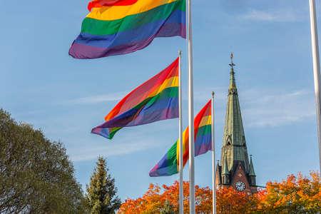 rainbow flag: The  Rainbow Flag in front of Church.