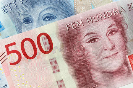 Swedish Currency (100 and 200 notes) Close Up. Stock Photo