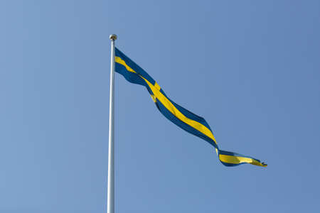 Swedish Pennant with a clear blue sky. Stockfoto