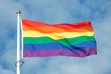 Regenboogvlag wappert in de wind met een gedeeltelijk bewolkte hemel.