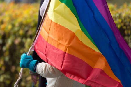 Person Carrying Rainbow Flag.