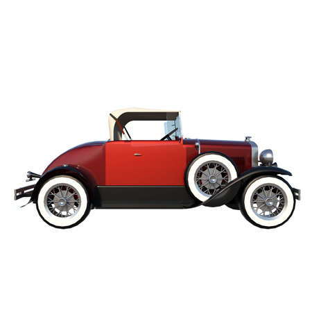 car city tourism transport 1 1920s - side view white background 3D Rendering 3D illustration