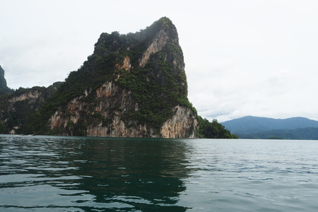 surat: Beautiful mountains lake river sky and natural attractions in Ratchaprapha Dam at Khao Sok National Park, Surat Thani Province, Thailand.