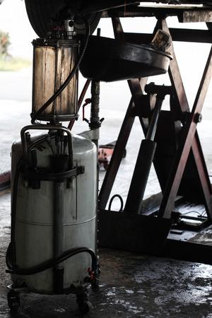 lubricator: engine for change oil Stock Photo