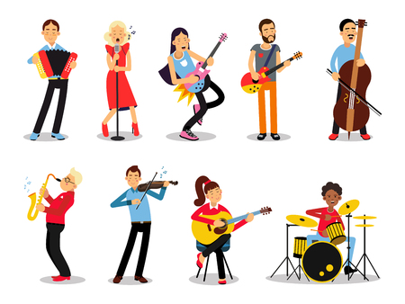 Various musicians, characters in flat style vector illustration Ilustrace