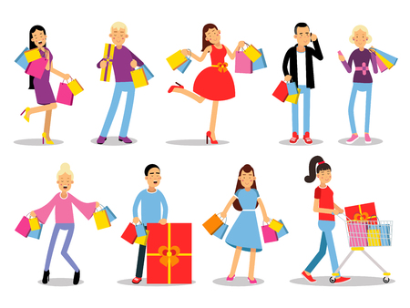 Shopping people vector concepts. Flat design. Collection of smiling women and man characters with gift boxes, paper bags and trolley with goods. Pleasure of purchase. For sales and discounts
